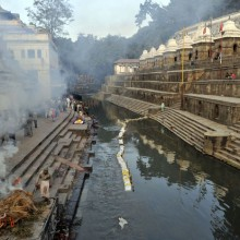 Cremations on the Bagmati riverbank, Nepal