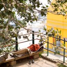 Sleeping holy man, Varanasi, India