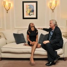Director James Cameron with actress Zoe Saldana