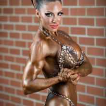 Jodie Marsh competing in bodybuilding competition, Sheffield
