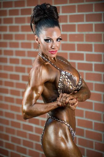 Pictured Jodie Marsh, after competing in a bodybuilding