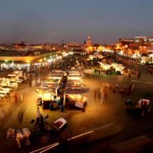 Marrakech's central square Djemaa el Fna at dusk