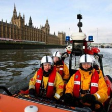 RNLI lifeboat on the River Thames, London